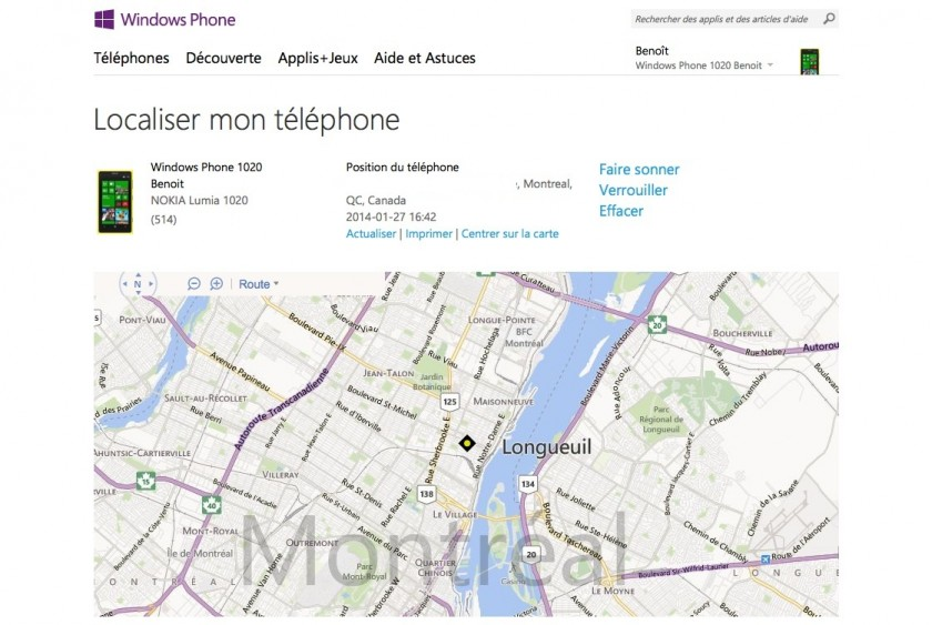 Localiser mon telephone - Windows Phone