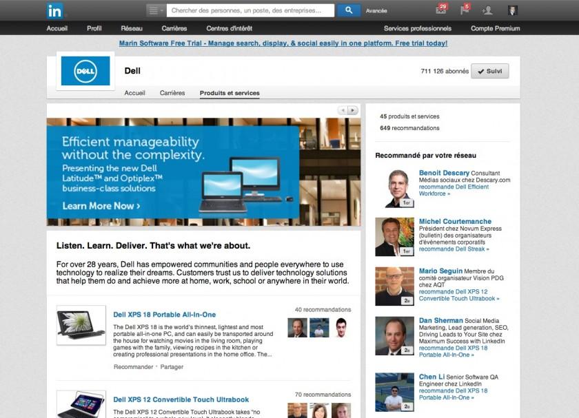 Page entreprise Linkedin - Onglet Produits et Services