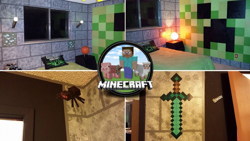 un th me minecraft pour la chambre de leurs enfants. Black Bedroom Furniture Sets. Home Design Ideas