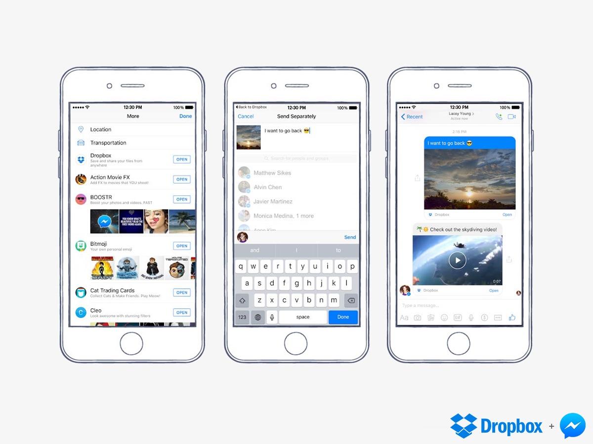 Facebook Messenger - Fichiers Dropbox