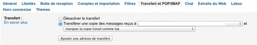 Aller dans le menu de transfert et ajouter comme adresse de transfert le compte Microsoft de l'étape précédente