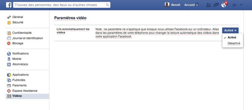 Desactiver les videos automatiques dans Facebook