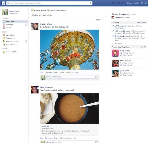 Fil de nouvelles Facebook actuel - Mars 2014