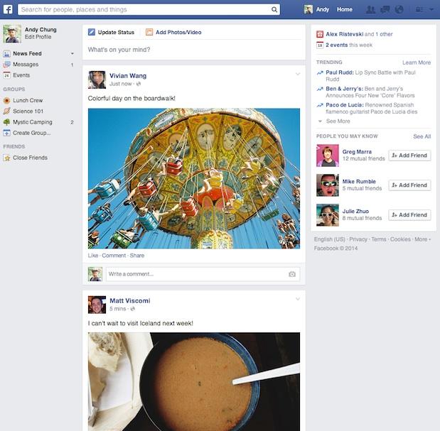 Nouveau fil de nouvelles Facebook - Mars 2014