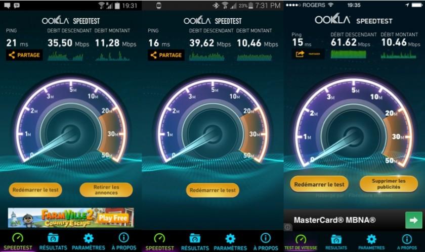 Comparatif de réception Wi-Fi. Dans l'ordre : Galaxy Note 3, Galaxy S5, iPhone 5S