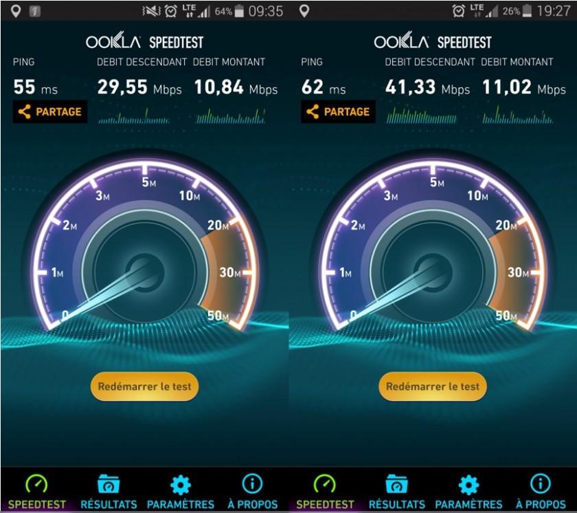 Débits en data mobile, Bell à gauche, Rogers à droite