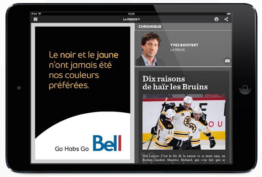 Bell Affiche Son Soutien Aux Canadiens De Montreal Avec Une Publicite A Double Interpretation Geeks And Com