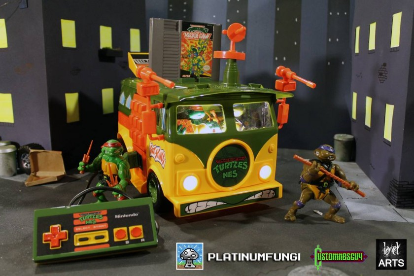 TMNT Party Wagon NES - Nintendo built into a Turtle Van toy by Platinumfungi