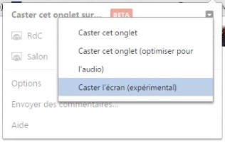 Google Cast - Chromecast - Partage ecran complet