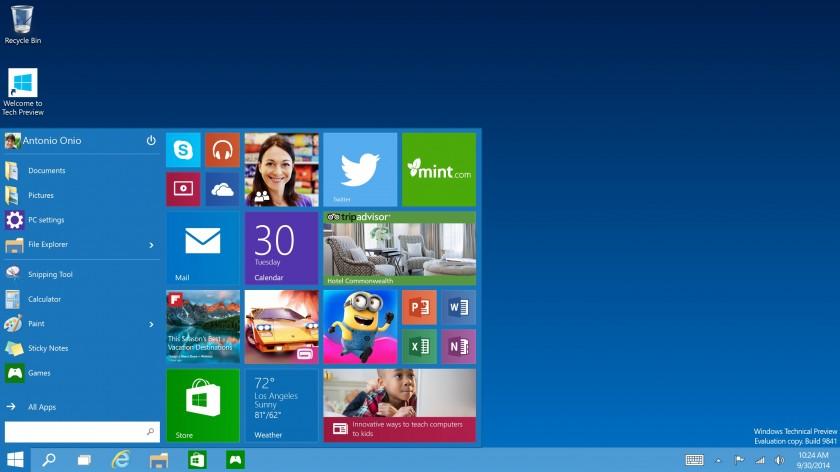 Windows 10 Tech Preview - Menu Demarrer