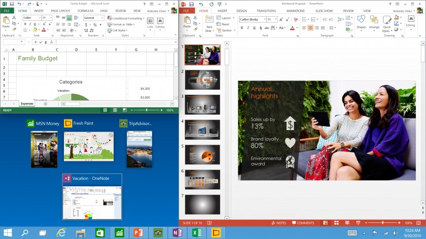 Windows 10 Tech Preview - Three program snap and suggestions