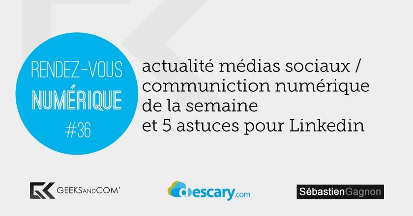 Rendez-Vous Numerique 36 - Podcast Medias Sociaux - 21 novembre 2014