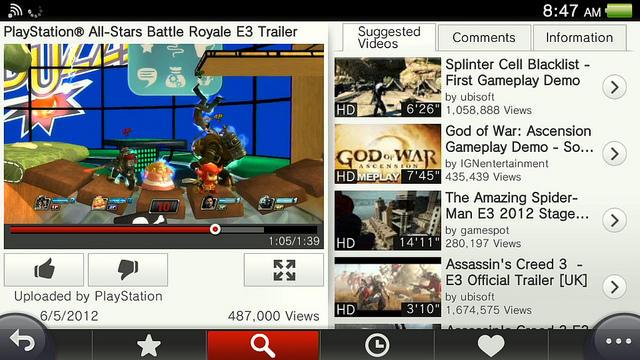 Application Youtube - Sony PS Vita - PlayStation