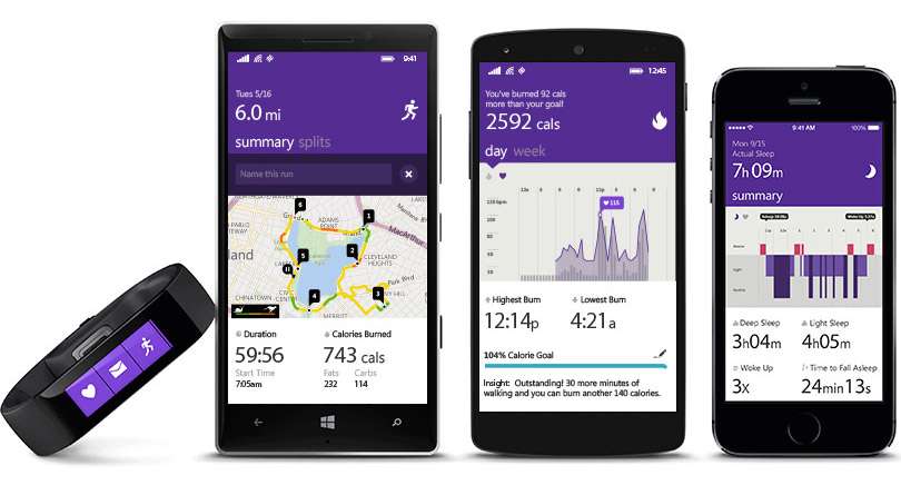Microsoft Band Android iOS Windows Phone