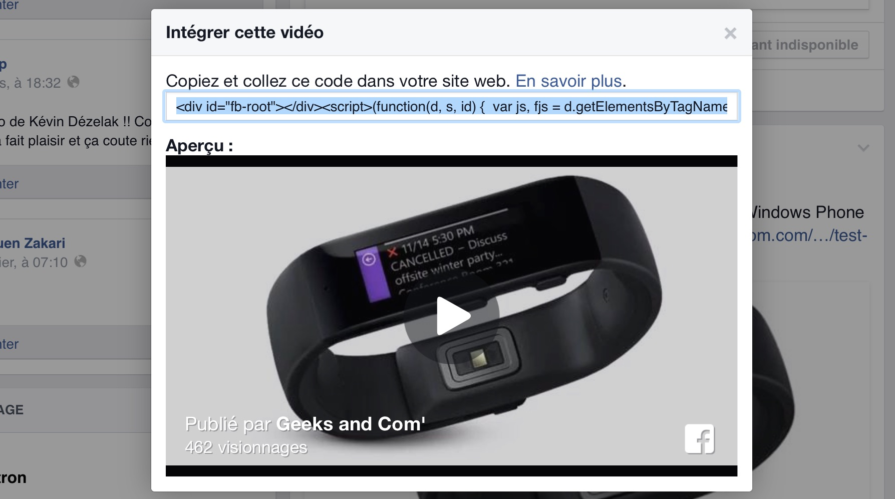 Facebook - Integrer Video Embedded Player Code