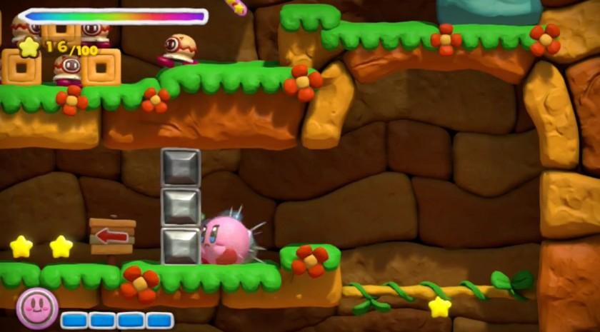 La ruée fait grossir Kirby qui peut désormais briser les blocs de métal