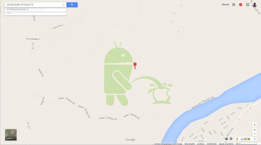 Android Bugdroid Apple - Google Maps