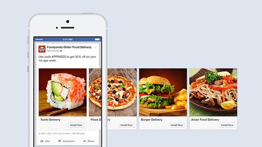 Facebook Caroussel - Publicite application mobile