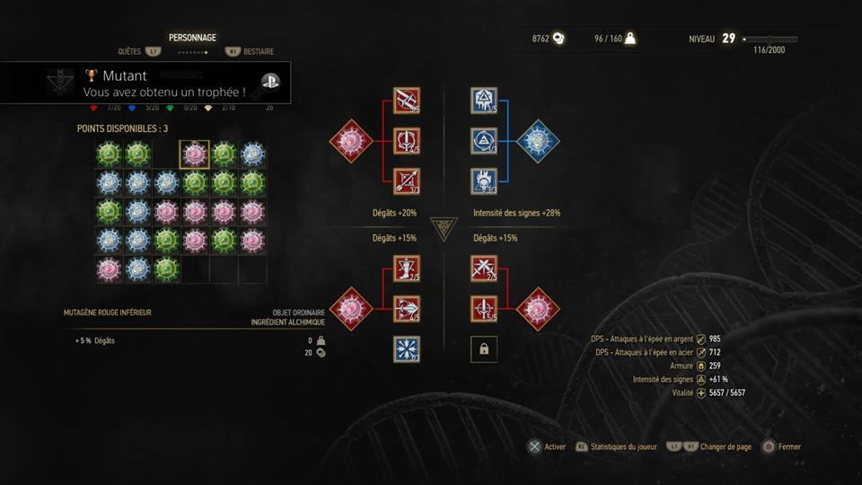 Witcher 3 - Arbre de compétence