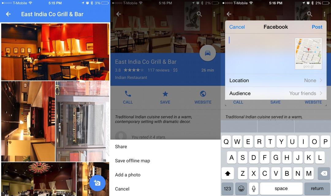 Google Maps iOS - Partage Facebook