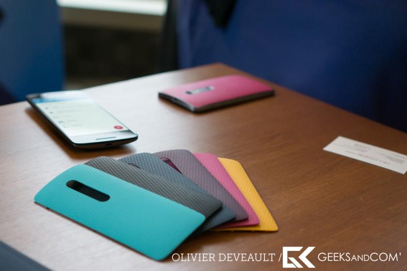 Photo montrant les couvercles interchangeables du Moto X Play
