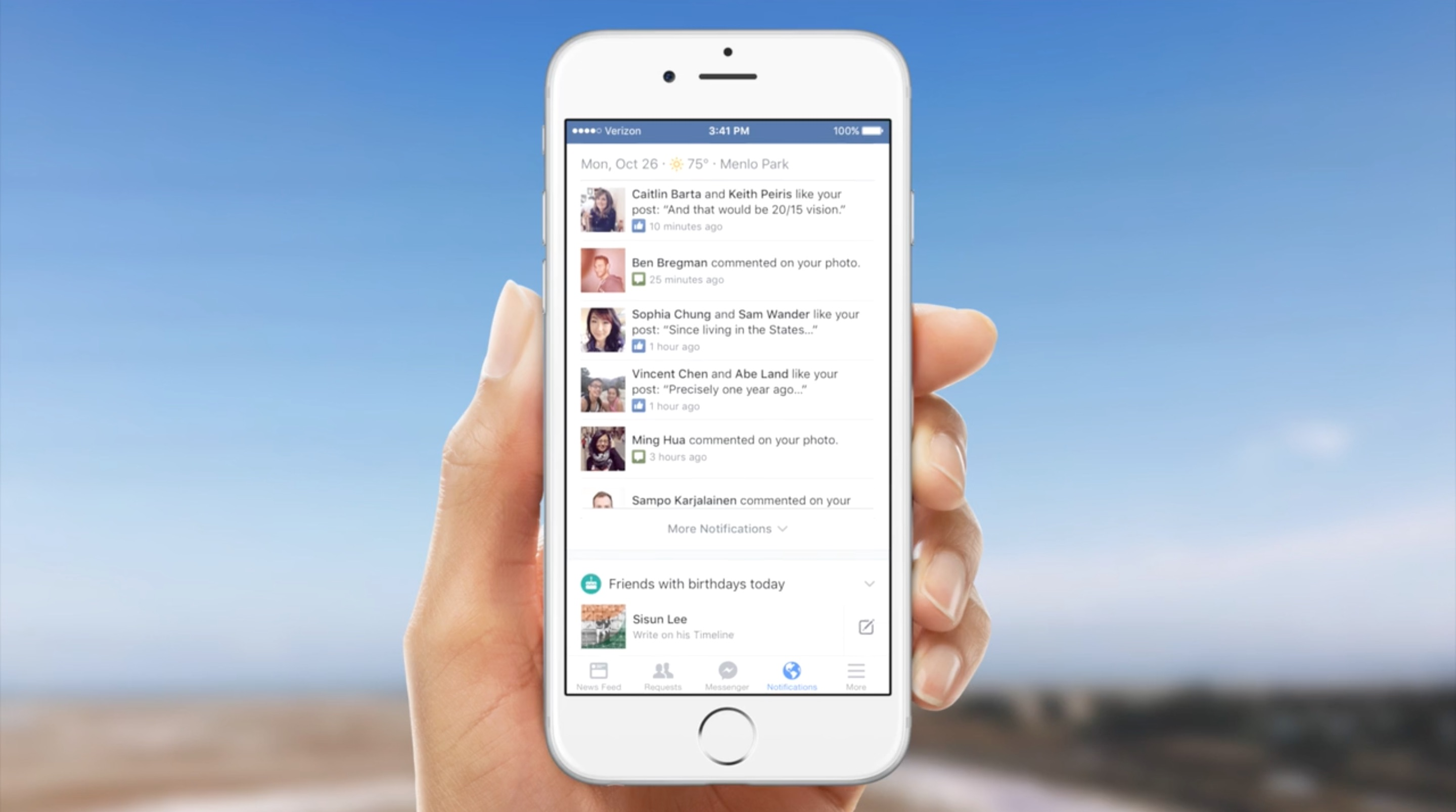 Facebook - Onglet notifications enrichi mobile