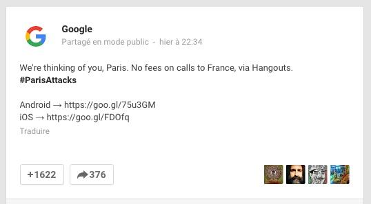 Google Hangouts - Paris Attentats