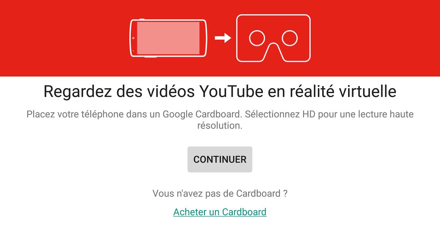 youtube réalité virtuelle Cardboard