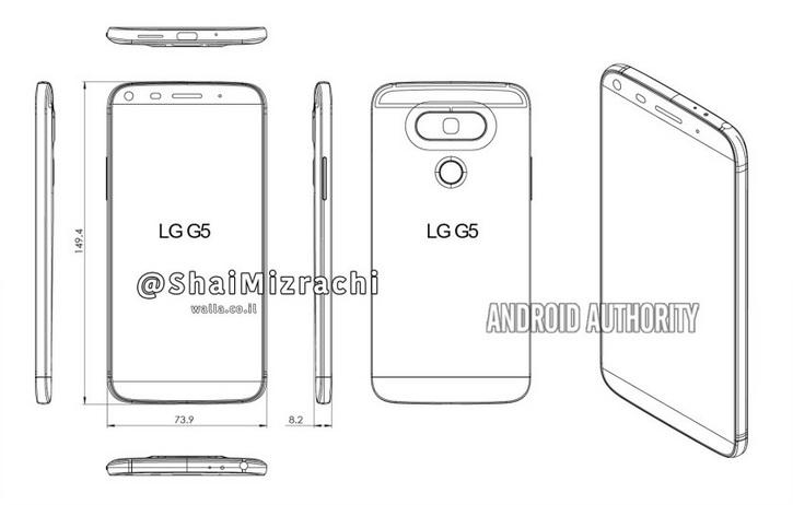 Fuite LG G5 - Dessin Design Dimensions