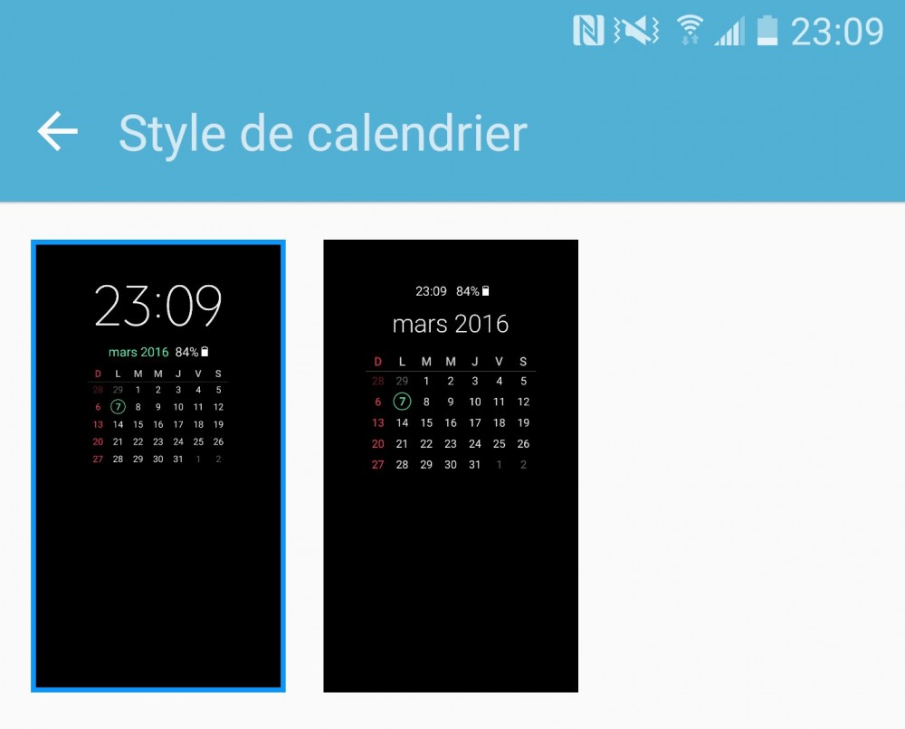 Samsung Galaxy S7 always on calendrier