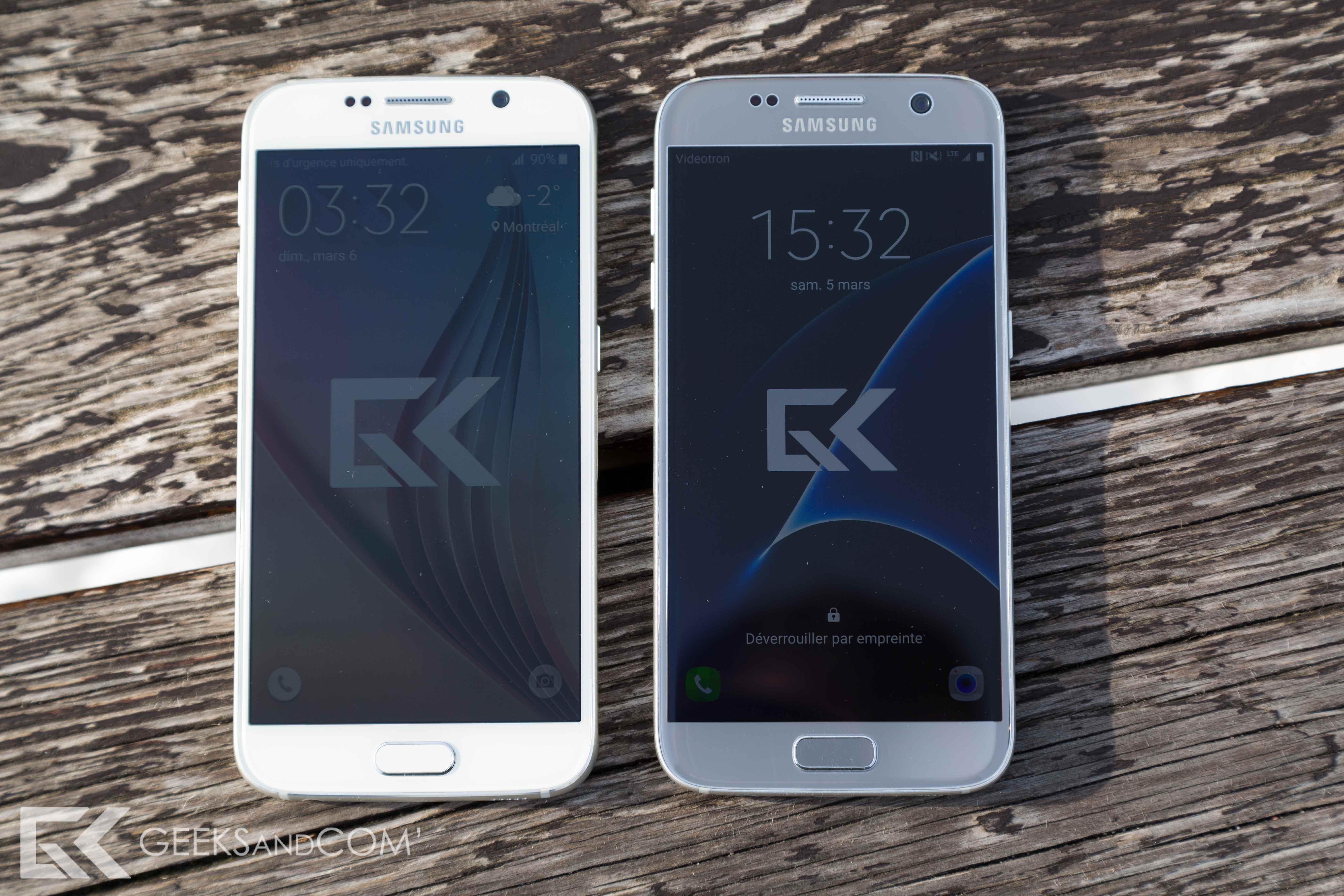Samsung Galaxy S6 (à gauche) vs Samsung Galaxy S7 (à droite)