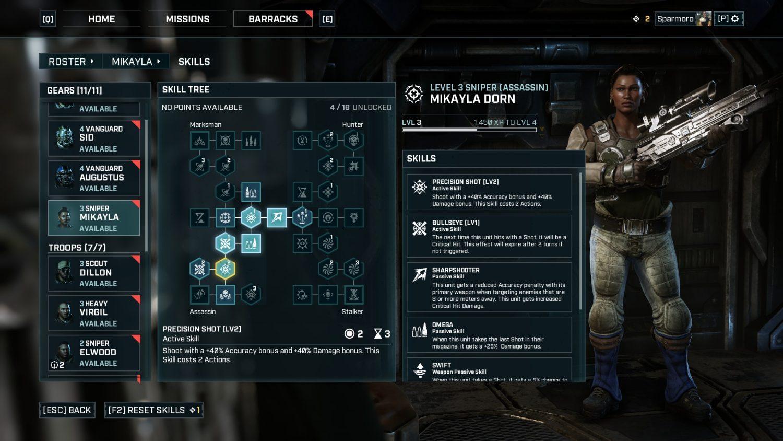Gears Tactics Skill Tree