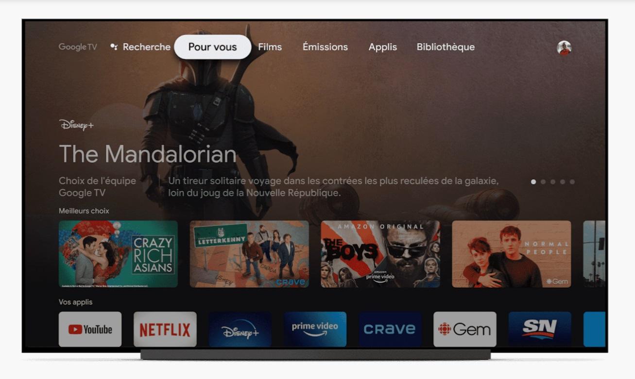 Chromecast avec Google TV Interface